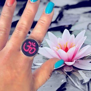 OM Black & Pink Round Statement Ring